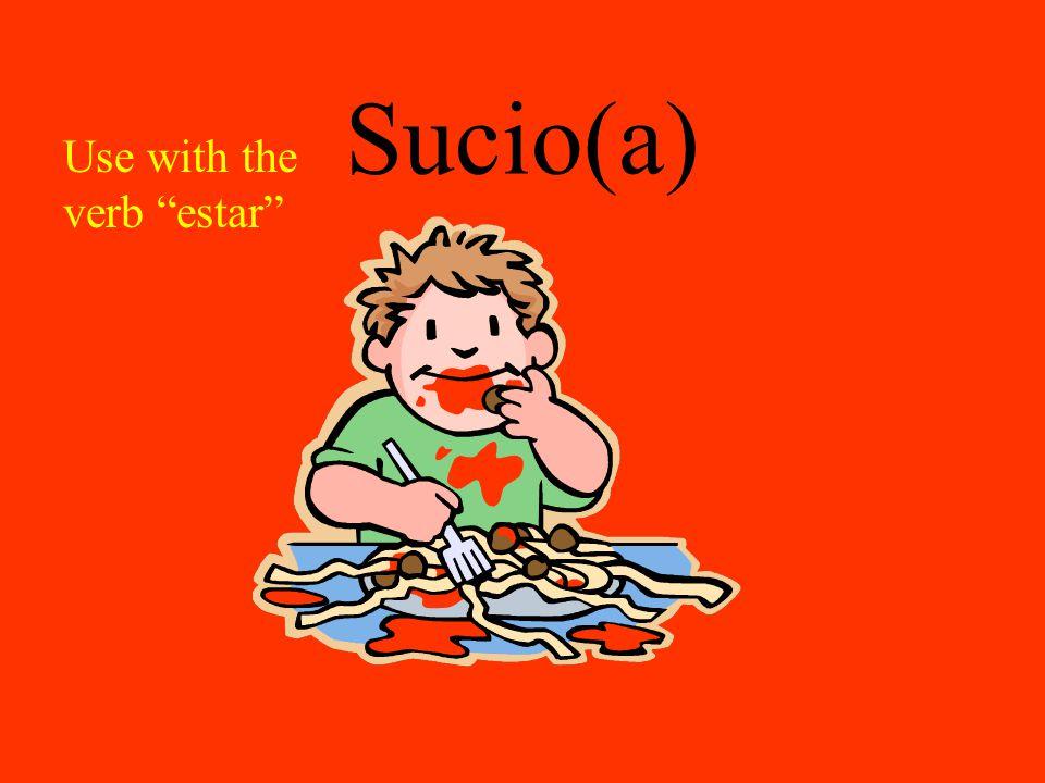 """Sucio(a) Use with the verb """"estar"""""""