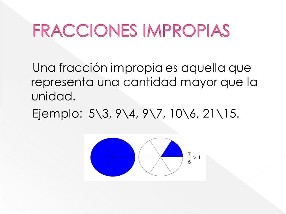 Una fracción impropia es aquella que representa una cantidad mayor que la unidad.