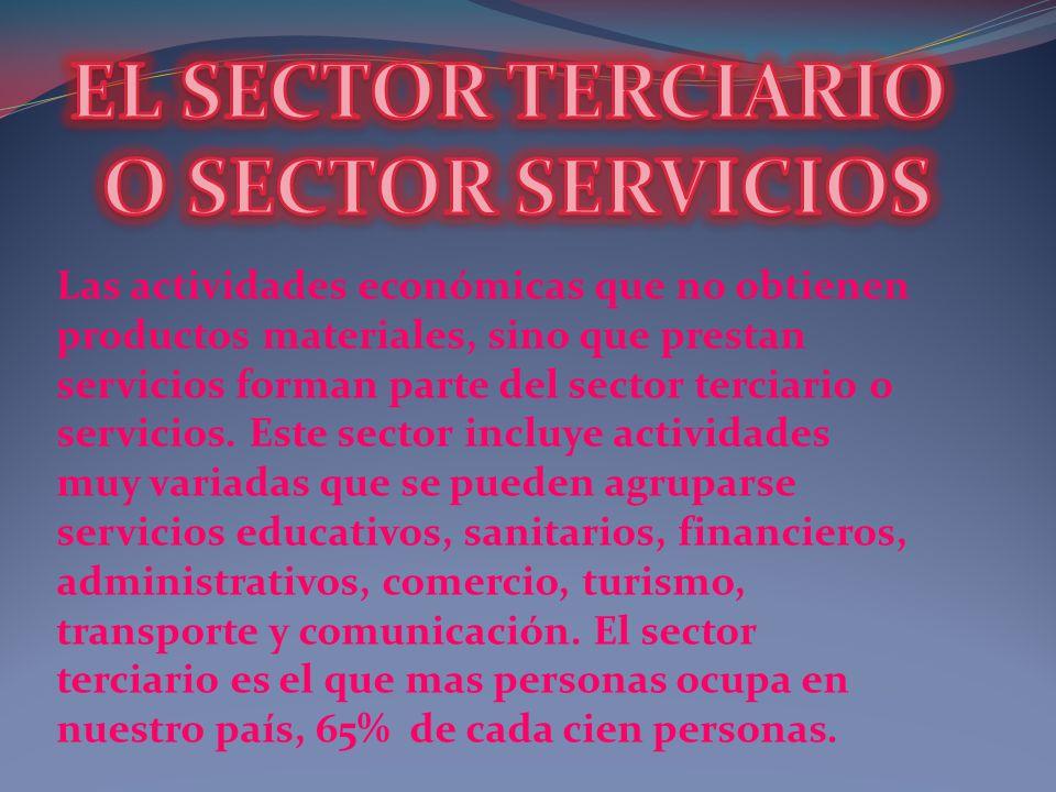 Las actividades económicas que no obtienen productos materiales, sino que prestan servicios forman parte del sector terciario o servicios. Este sector