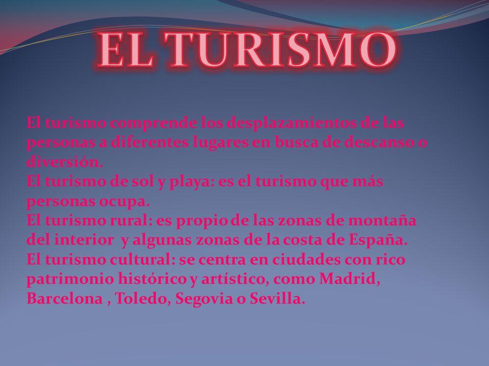 El turismo comprende los desplazamientos de las personas a diferentes lugares en busca de descanso o diversión. El turismo de sol y playa: es el turis