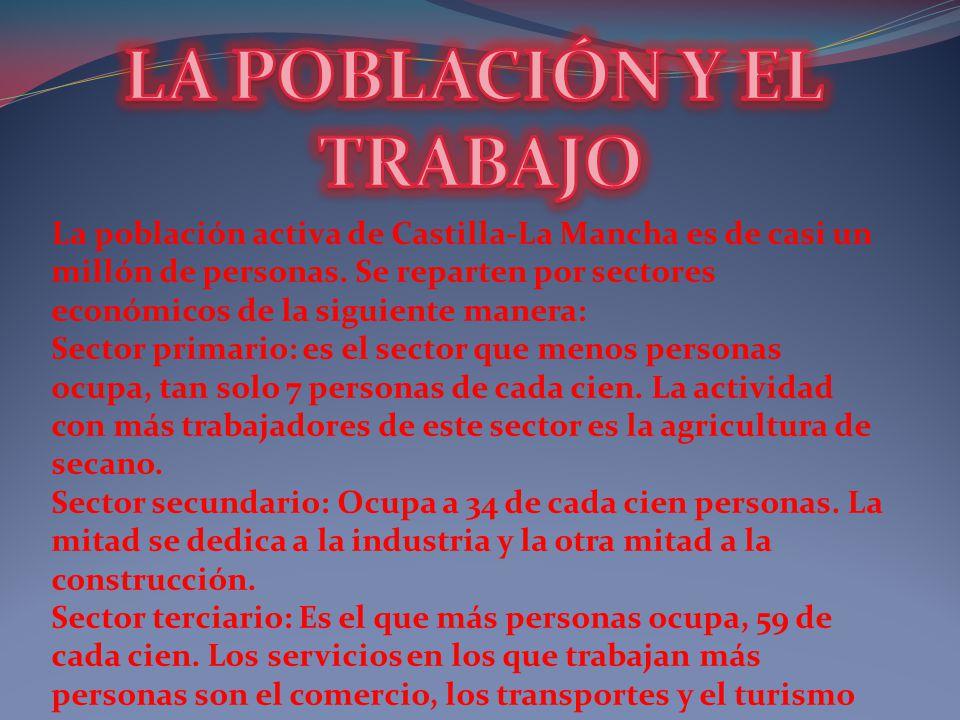La población activa de Castilla-La Mancha es de casi un millón de personas. Se reparten por sectores económicos de la siguiente manera: Sector primari
