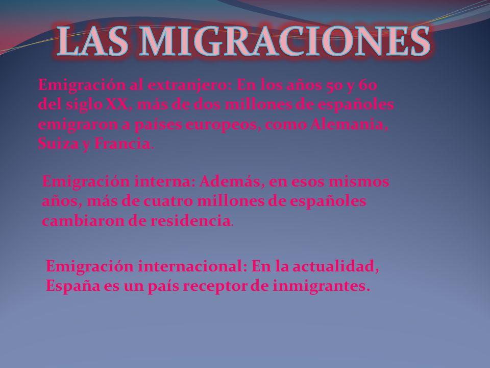 Emigración al extranjero: En los años 50 y 60 del siglo XX, más de dos millones de españoles emigraron a países europeos, como Alemania, Suiza y Franc