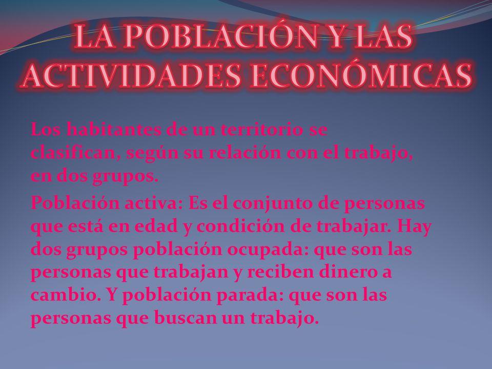 Población inactiva: Es el conjunto de personas que no pueden trabajar o no cobran un sueldo por trabajar.