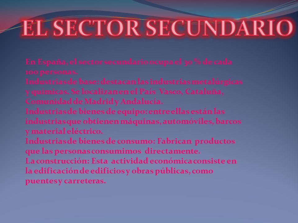 En España, el sector secundario ocupa el 30 % de cada 100 personas. Industrias de base: destacan las industrias metalúrgicas y químicas. Se localizan