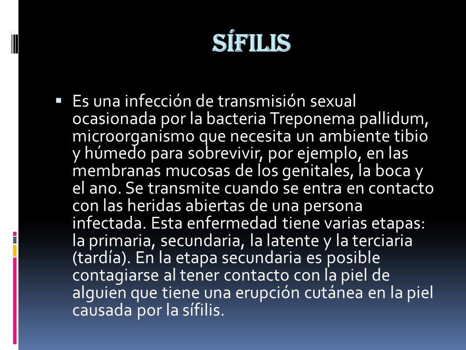 Sífilis  Es una infección de transmisión sexual ocasionada por la bacteria Treponema pallidum, microorganismo que necesita un ambiente tibio y húmedo