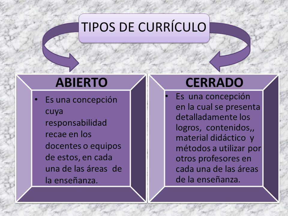 TIPOS DE CURRÍCULO ABIERTO Es una concepción cuya responsabilidad recae en los docentes o equipos de estos, en cada una de las áreas de la enseñanza.