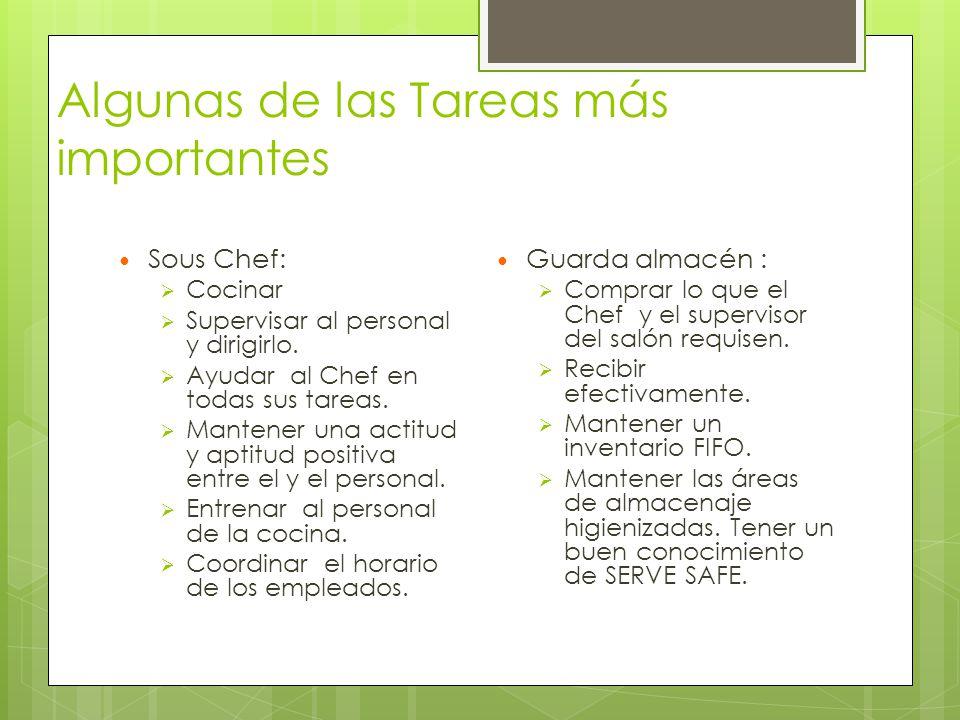 Algunas de las Tareas más importantes Sous Chef:  Cocinar  Supervisar al personal y dirigirlo.  Ayudar al Chef en todas sus tareas.  Mantener una