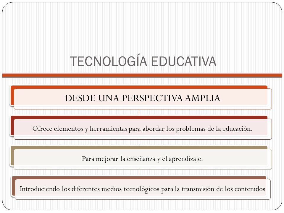 TECNOLOGÍA EDUCATIVA DESDE UNA PERSPECTIVA AMPLIA Ofrece elementos y herramientas para abordar los problemas de la educación.Para mejorar la enseñanza y el aprendizaje.Introduciendo los diferentes medios tecnológicos para la transmisión de los contenidos