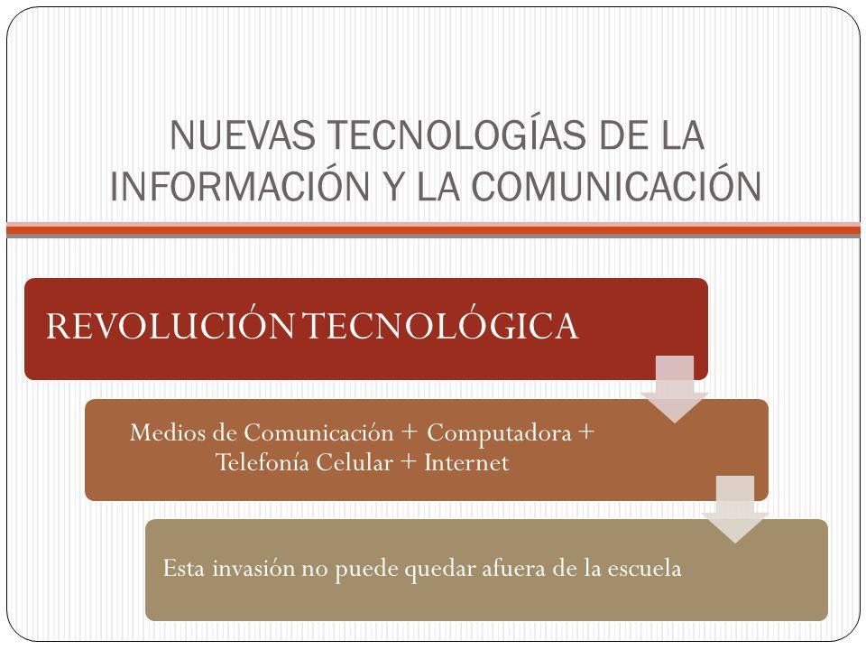 NUEVAS TECNOLOGÍAS DE LA INFORMACIÓN Y LA COMUNICACIÓN REVOLUCIÓN TECNOLÓGICA Medios de Comunicación + Computadora + Telefonía Celular + Internet Esta invasión no puede quedar afuera de la escuela