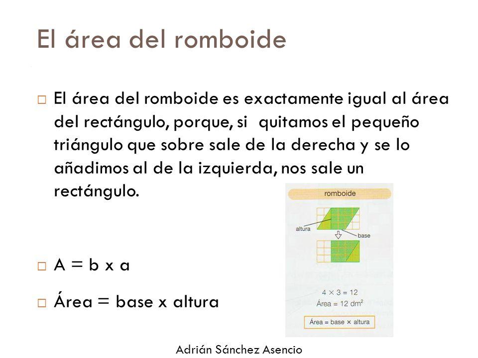 El área del romboide  El área del romboide es exactamente igual al área del rectángulo, porque, si quitamos el pequeño triángulo que sobre sale de la derecha y se lo añadimos al de la izquierda, nos sale un rectángulo.