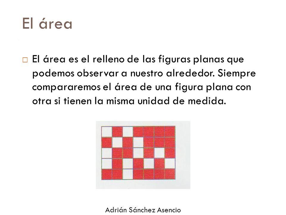 El área  El área es el relleno de las figuras planas que podemos observar a nuestro alrededor.