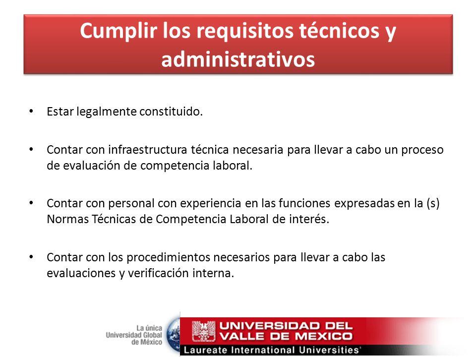 Cumplir los requisitos técnicos y administrativos Estar legalmente constituido.