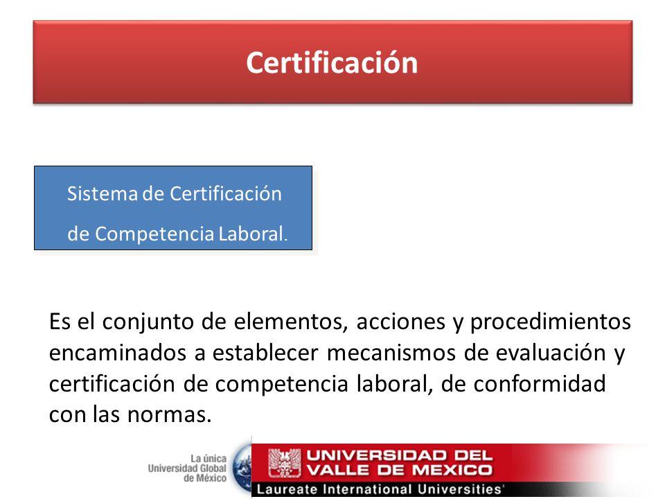 Certificación Sistema de Certificación de Competencia Laboral.