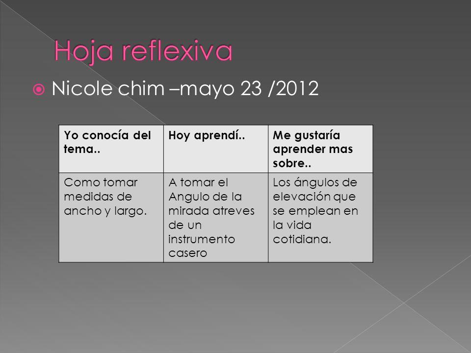  Nicole chim –mayo 23 /2012 Yo conocía del tema..