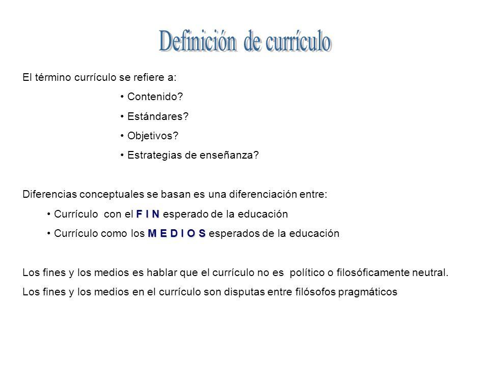 El término currículo se refiere a: Contenido.Estándares.