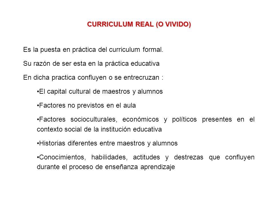 CURRICULUM REAL (O VIVIDO) Es la puesta en práctica del curriculum formal.