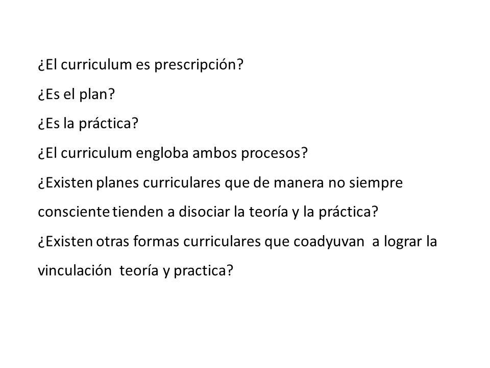 ¿El curriculum es prescripción.¿Es el plan. ¿Es la práctica.