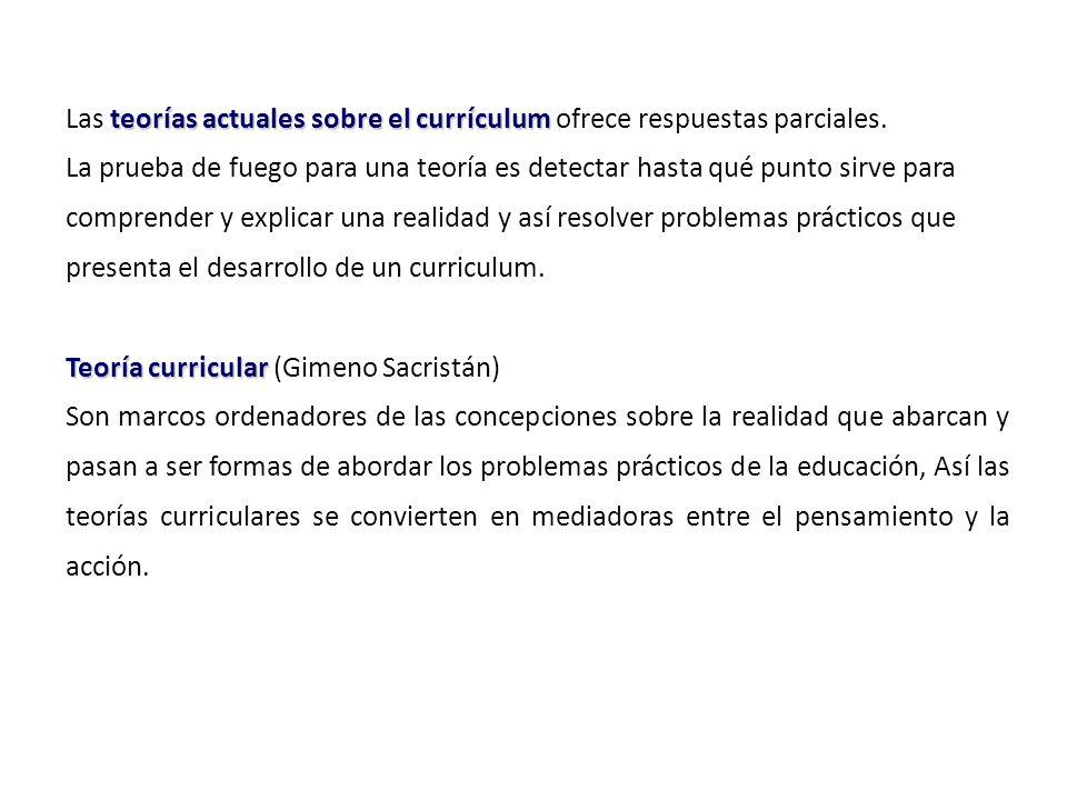 teorías actuales sobre el currículum Las teorías actuales sobre el currículum ofrece respuestas parciales.