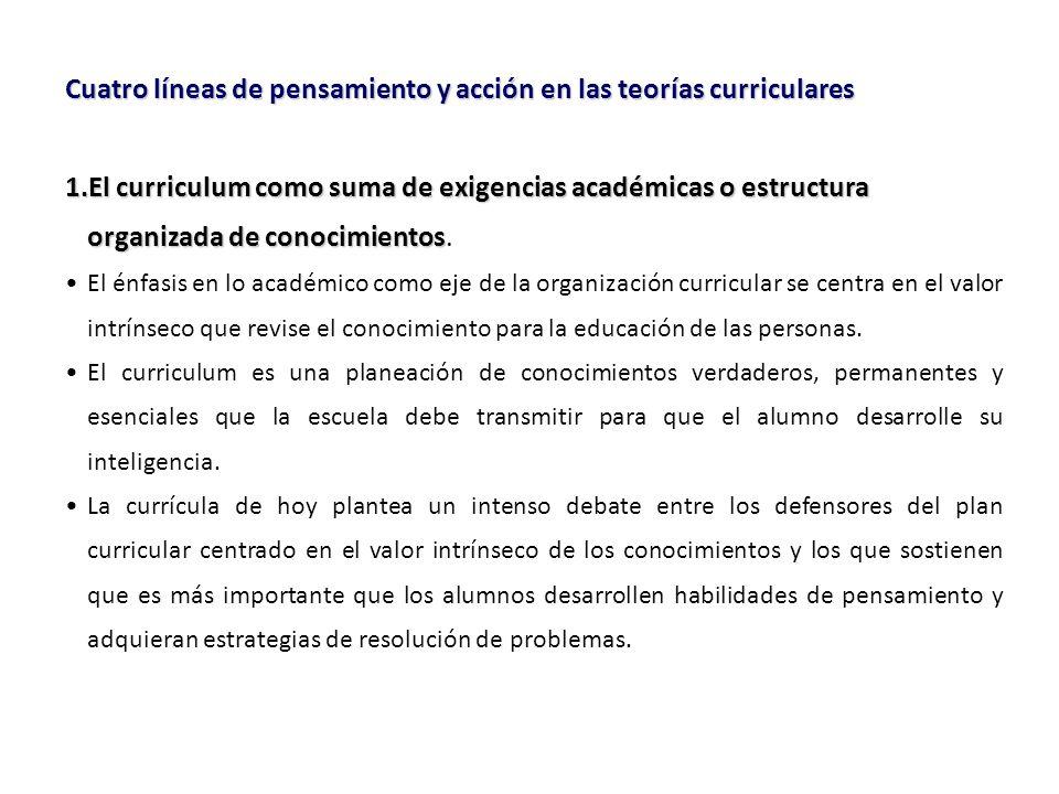 Cuatro líneas de pensamiento y acción en las teorías curriculares 1.El curriculum como suma de exigencias académicas o estructura organizada de conocimientos 1.El curriculum como suma de exigencias académicas o estructura organizada de conocimientos.