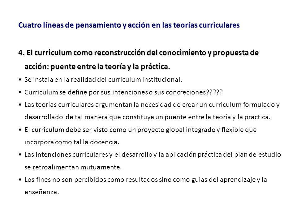 Cuatro líneas de pensamiento y acción en las teorías curriculares 4.