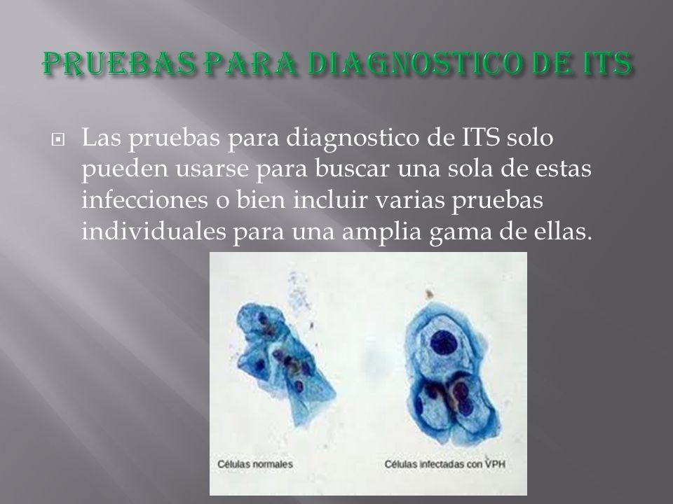  Las pruebas para diagnostico de ITS solo pueden usarse para buscar una sola de estas infecciones o bien incluir varias pruebas individuales para una amplia gama de ellas.