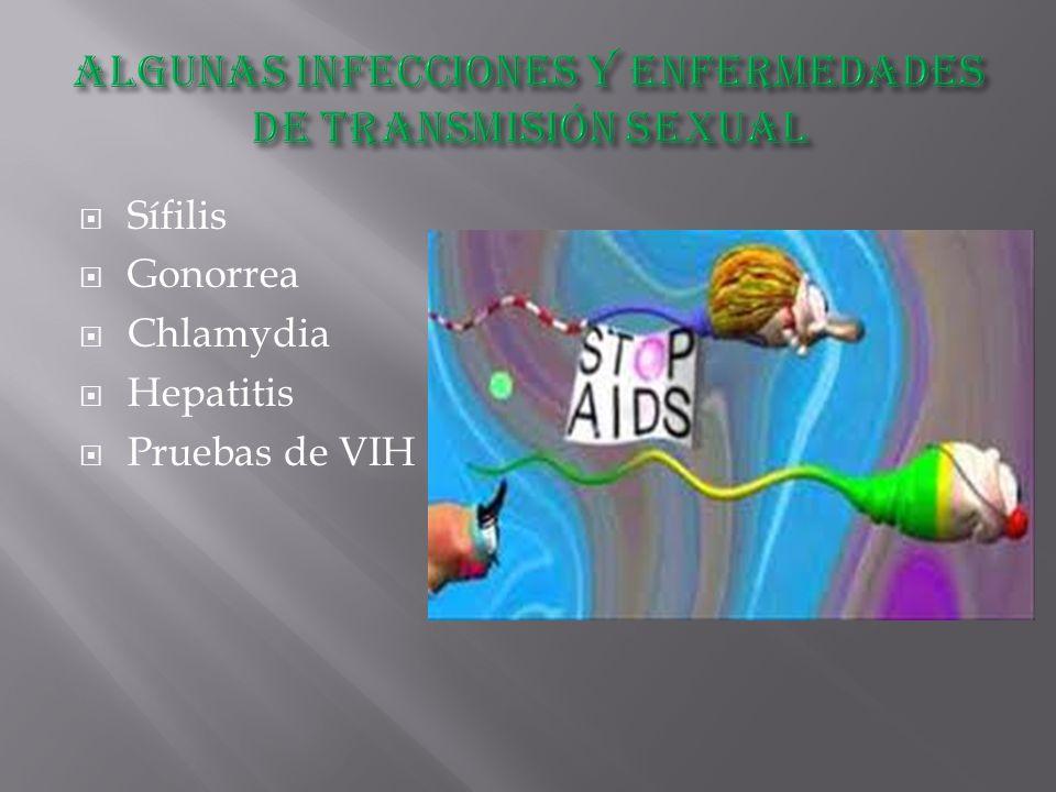  Sífilis  Gonorrea  Chlamydia  Hepatitis  Pruebas de VIH