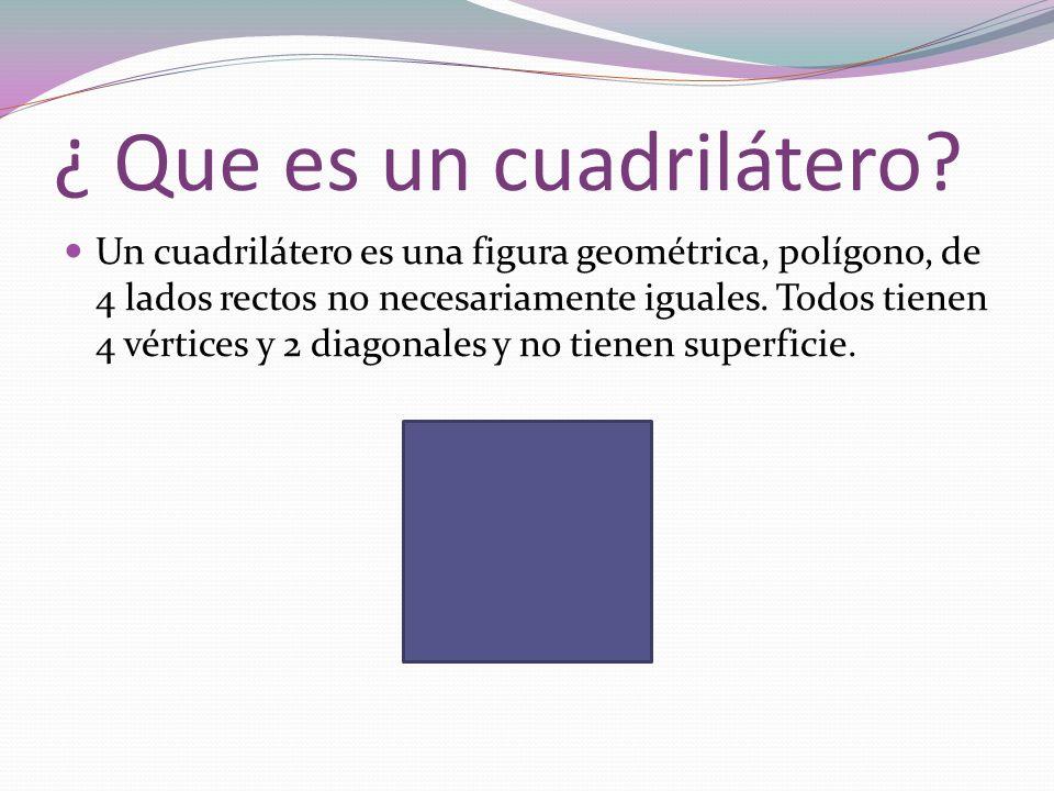 ¿ Que es un cuadrilátero? Un cuadrilátero es una figura geométrica, polígono, de 4 lados rectos no necesariamente iguales. Todos tienen 4 vértices y 2