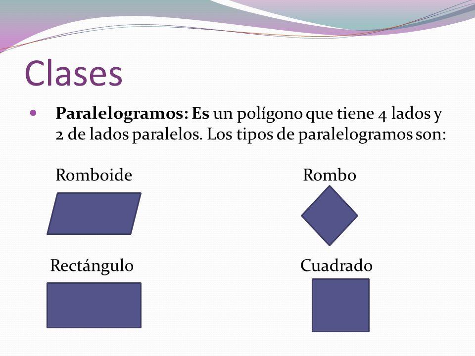 Clases Paralelogramos: Es un polígono que tiene 4 lados y 2 de lados paralelos. Los tipos de paralelogramos son: Romboide Rombo Rectángulo Cuadrado