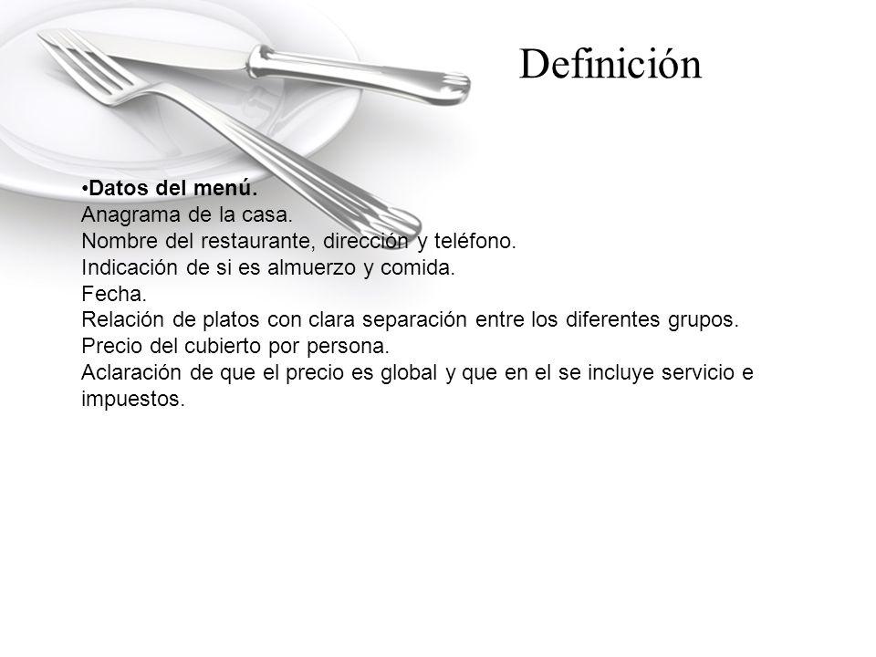Datos del menú.Anagrama de la casa. Nombre del restaurante, dirección y teléfono.