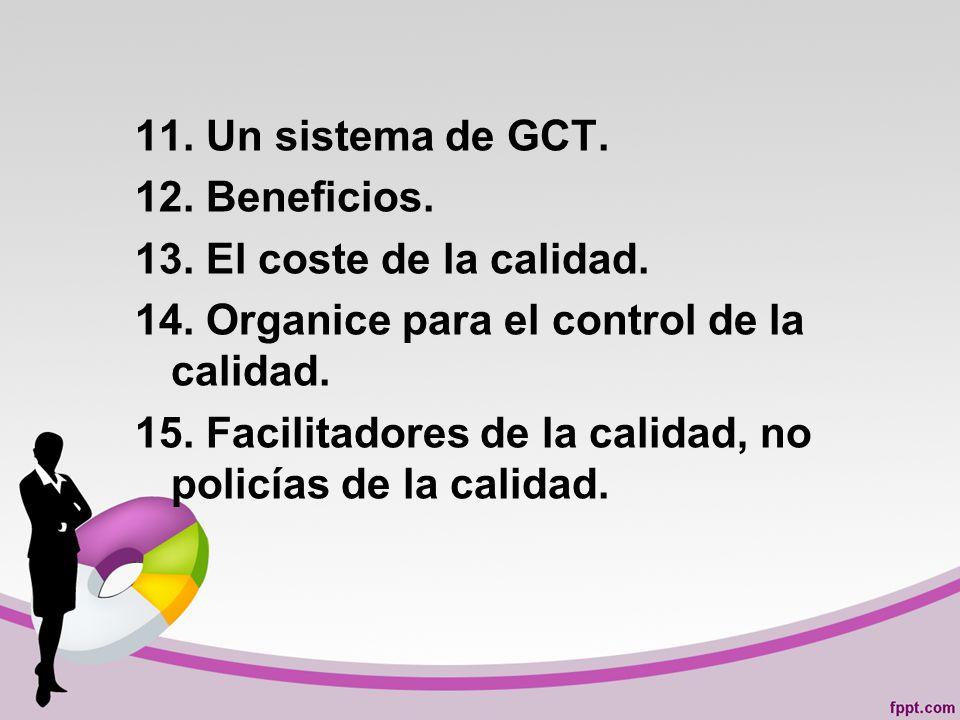11.Un sistema de GCT. 12. Beneficios. 13. El coste de la calidad.