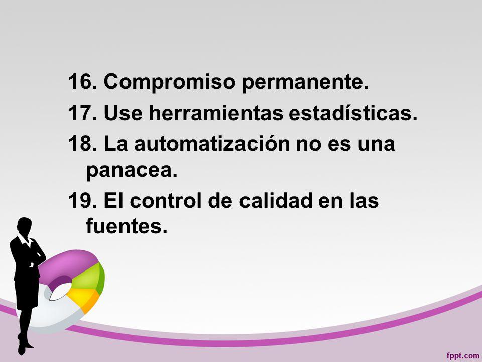 16.Compromiso permanente. 17. Use herramientas estadísticas.