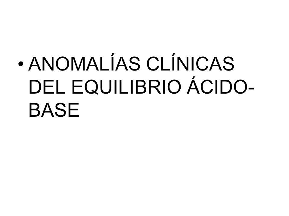 ANOMALÍAS CLÍNICAS DEL EQUILIBRIO ÁCIDO- BASE