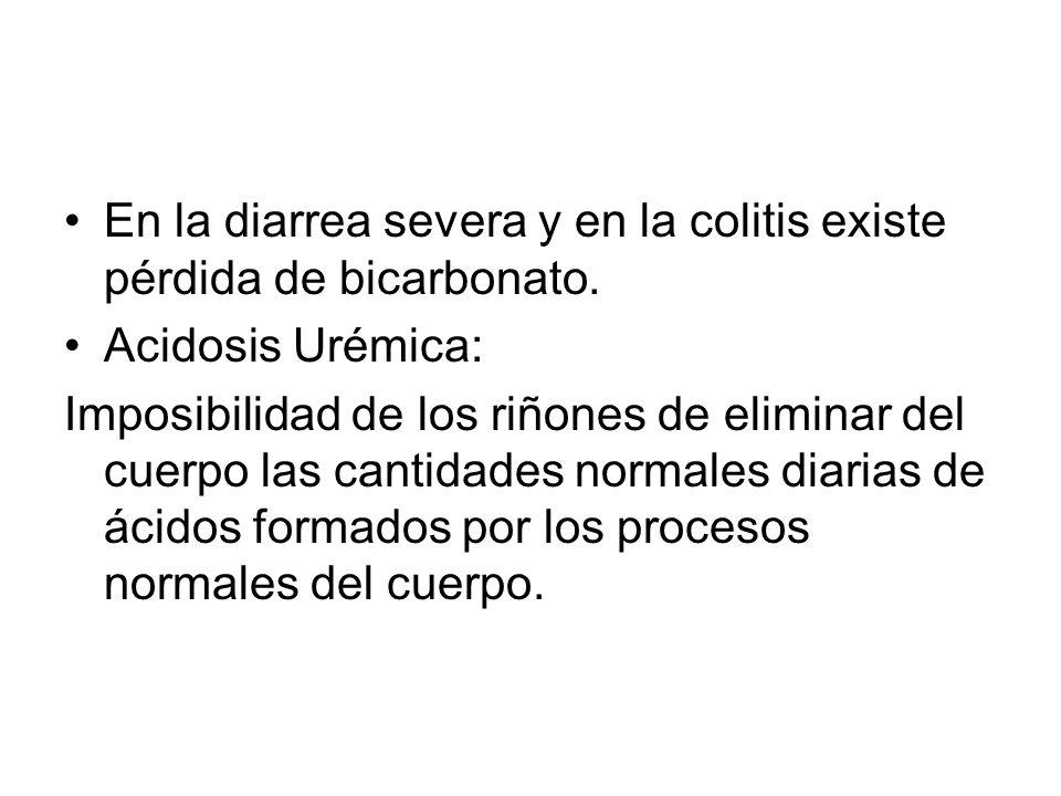 En la diarrea severa y en la colitis existe pérdida de bicarbonato.