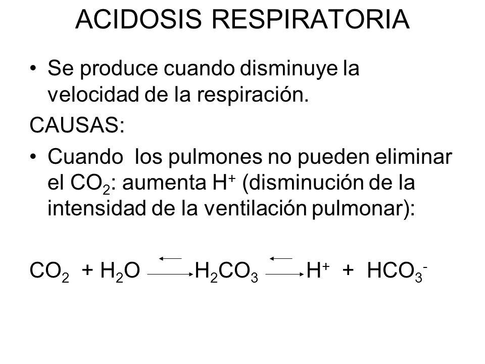 ACIDOSIS RESPIRATORIA Se produce cuando disminuye la velocidad de la respiración.