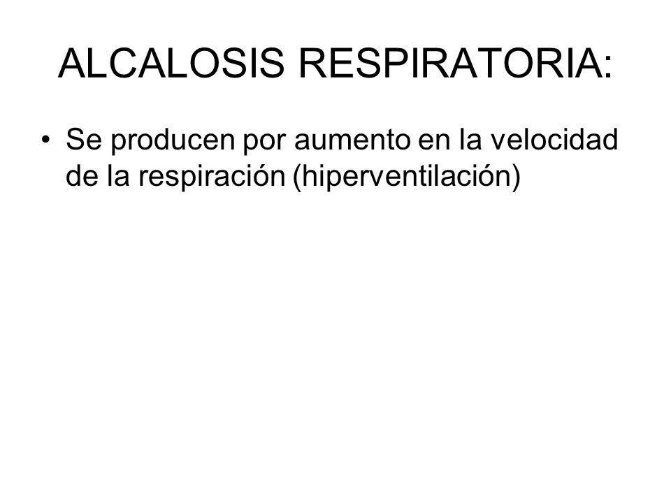 ALCALOSIS RESPIRATORIA: Se producen por aumento en la velocidad de la respiración (hiperventilación)