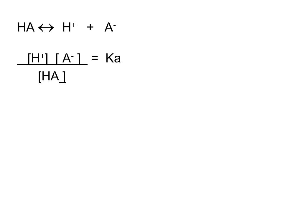 HA  H + + A - [H + ] [ A - ] = Ka [HA ]