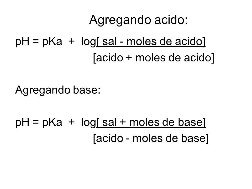 Agregando acido: pH = pKa + log[ sal - moles de acido] [acido + moles de acido] Agregando base: pH = pKa + log[ sal + moles de base] [acido - moles de base]