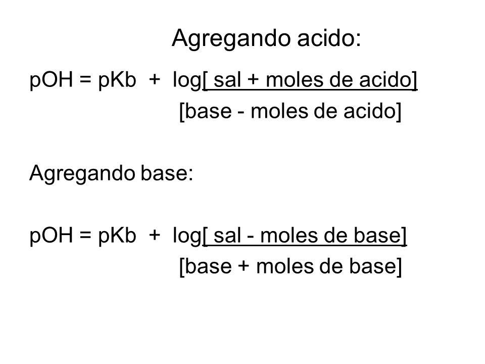 Agregando acido: pOH = pKb + log[ sal + moles de acido] [base - moles de acido] Agregando base: pOH = pKb + log[ sal - moles de base] [base + moles de base]