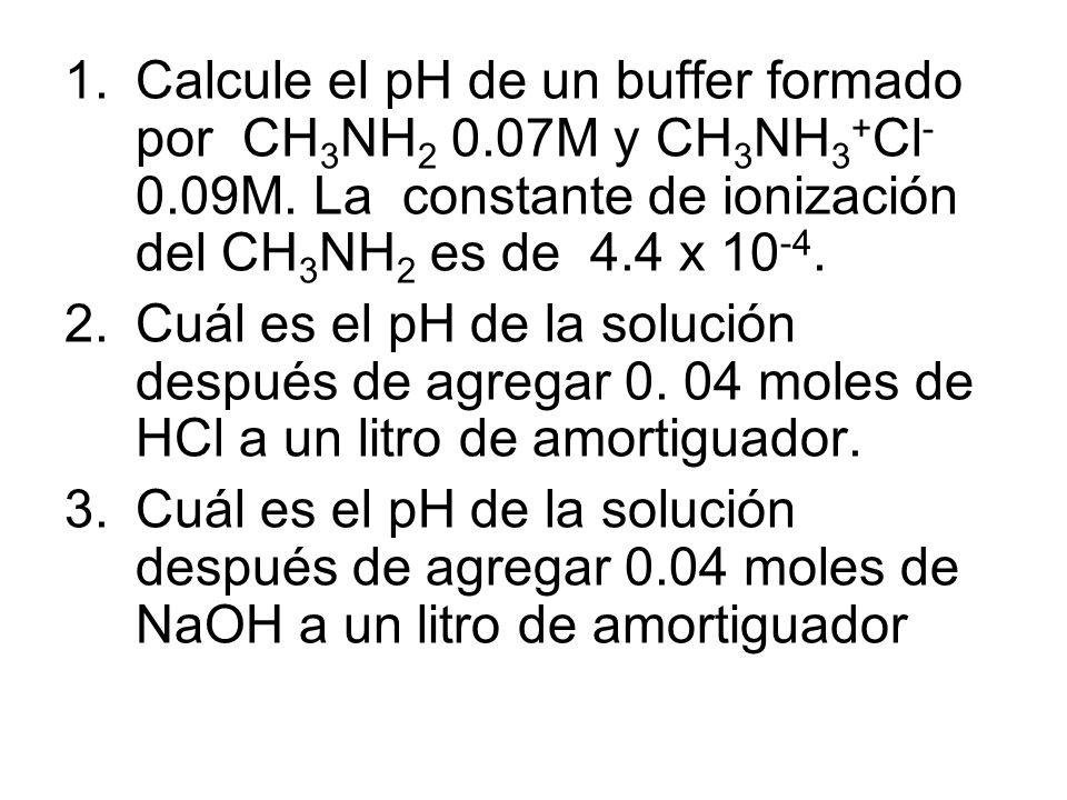1.Calcule el pH de un buffer formado por CH 3 NH 2 0.07M y CH 3 NH 3 + Cl - 0.09M.