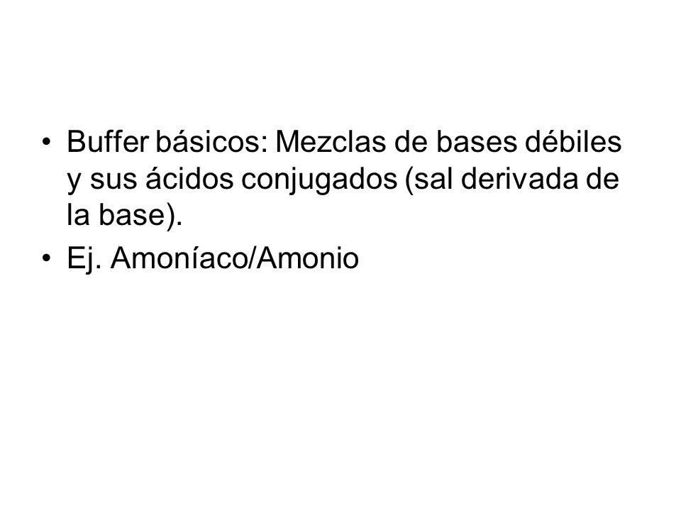 Buffer básicos: Mezclas de bases débiles y sus ácidos conjugados (sal derivada de la base).