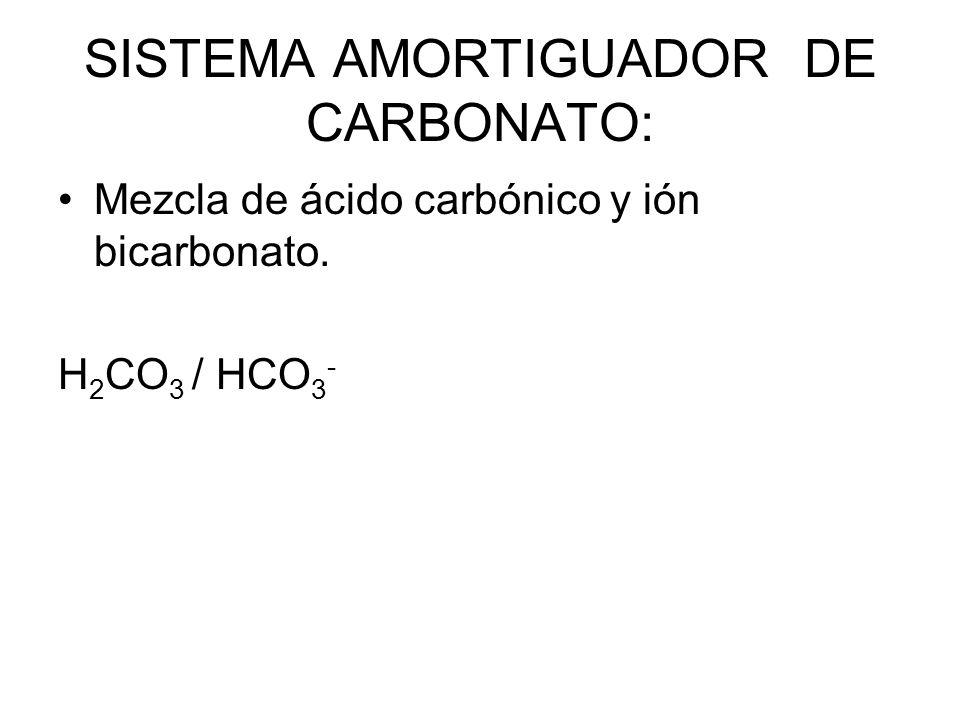 SISTEMA AMORTIGUADOR DE CARBONATO: Mezcla de ácido carbónico y ión bicarbonato. H 2 CO 3 / HCO 3 -