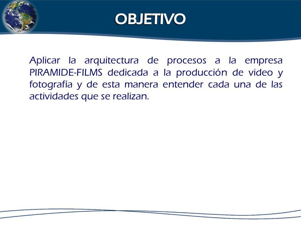 Aplicar la arquitectura de procesos a la empresa PIRAMIDE-FILMS dedicada a la producción de video y fotografía y de esta manera entender cada una de las actividades que se realizan.