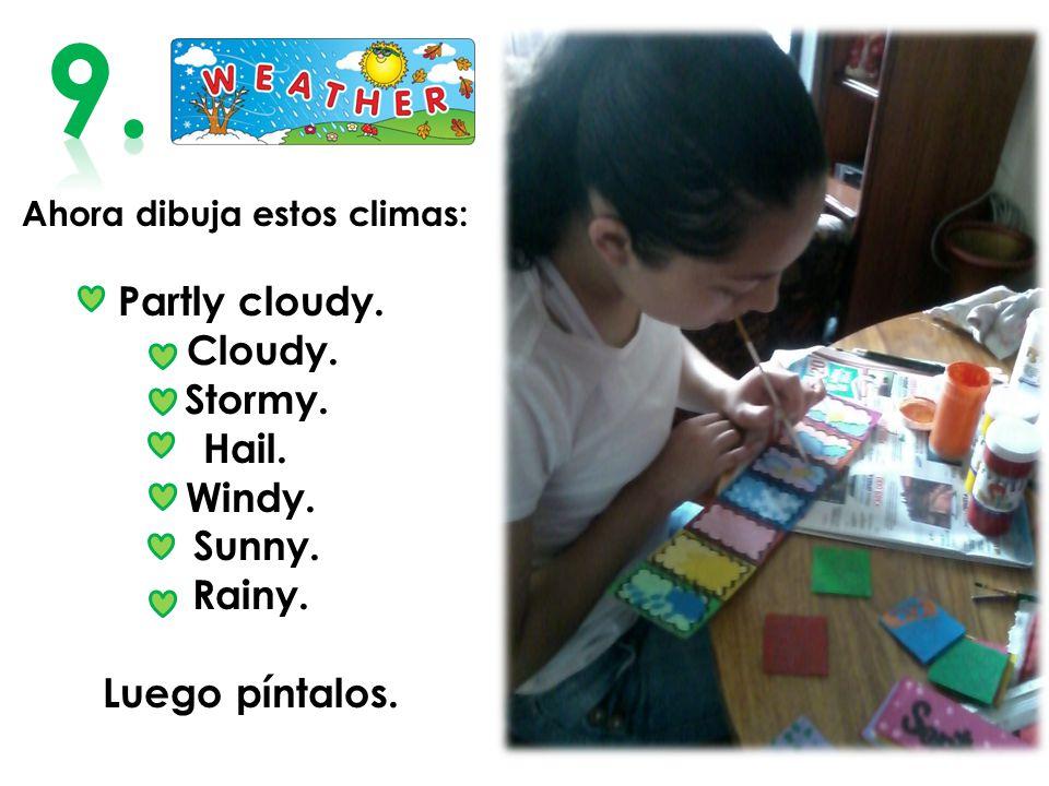 Ahora dibuja estos climas: Partly cloudy.Cloudy. Stormy.