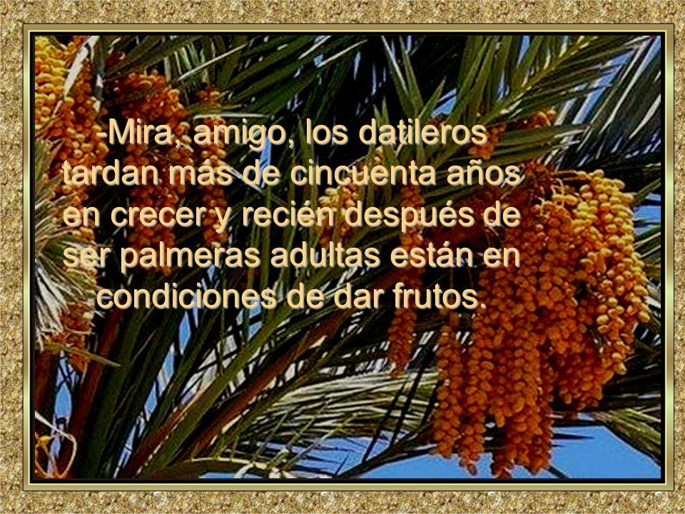 www.vitanoblepowerpoints.net Promoviendo valores desde 2008 -M-M-M-Mira, amigo, los datileros tardan más de cincuenta años en crecer y recién después de ser palmeras adultas están en condiciones de dar frutos.