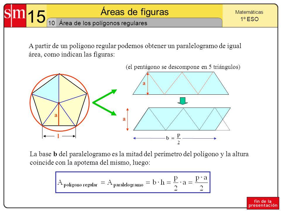 15 Áreas de figuras 9 Matemáticas 1º ESO Área de los polígonos no regulares Para hallar el área de un polígono se descompone en triángulos, uniendo un vértice con los demás: El área del pentágono de la figura es la suma de las áreas de los triángulos T 1, T 2 y T 3.