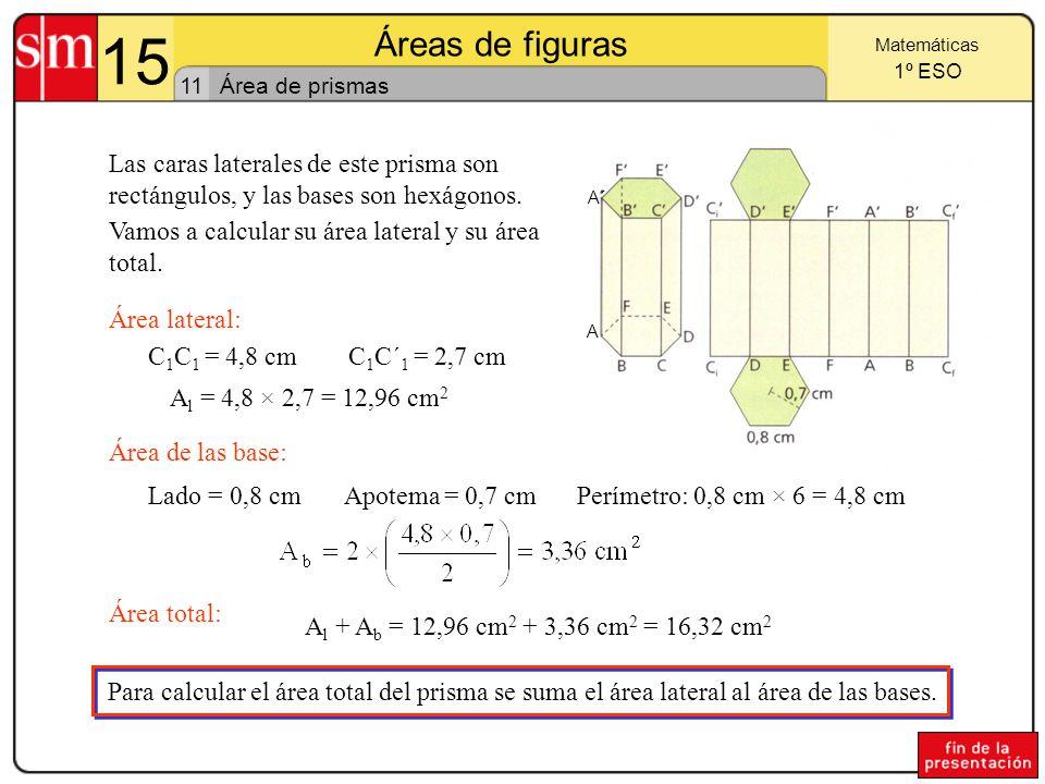 15 Áreas de figuras 10 Matemáticas 1º ESO Área de los polígonos regulares A partir de un polígono regular podemos obtener un paralelogramo de igual área, como indican las figuras: l a aa La base b del paralelogramo es la mitad del perímetro del polígono y la altura coincide con la apotema del mismo, luego: (el pentágono se descompone en 5 triángulos)