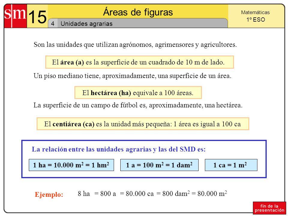 15 Áreas de figuras 3 Matemáticas 1º ESO Relaciones entre las unidades de superficie Observa: En general, una unidad de superficie es 100 veces mayor que la de orden inmediato inferior, y 100 veces menor que la del orden inmediato superior.