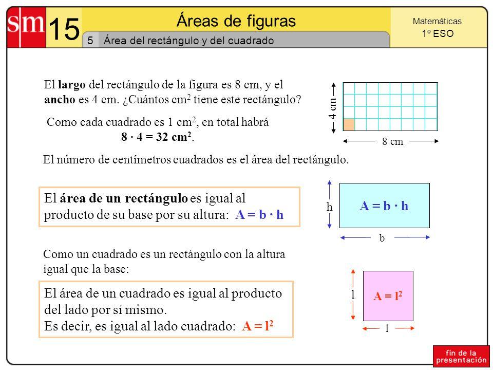 15 Áreas de figuras 4 Matemáticas 1º ESO Unidades agrarias Son las unidades que utilizan agrónomos, agrimensores y agricultores.