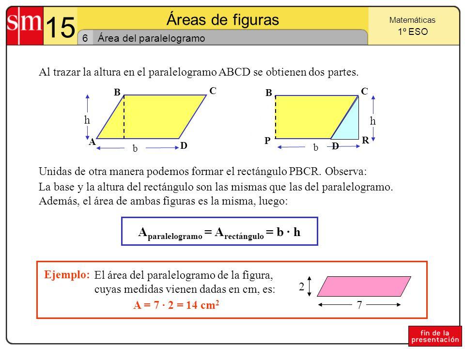 15 Áreas de figuras 5 Matemáticas 1º ESO Área del rectángulo y del cuadrado El largo del rectángulo de la figura es 8 cm, y el ancho es 4 cm.
