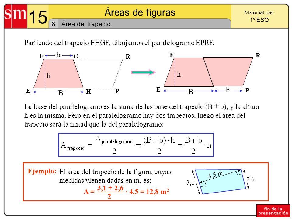 15 Áreas de figuras 7 Matemáticas 1º ESO Área del triángulo A partir del triángulo ABC podemos dibujar el paralelogramo ABDC.